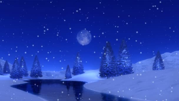 Peaceful woodland scenery with snowy fir forest on a frozen lake shore at snowfall winter night with a full moon. Festive background for Xmas or New Year holidays in cinemagraph style