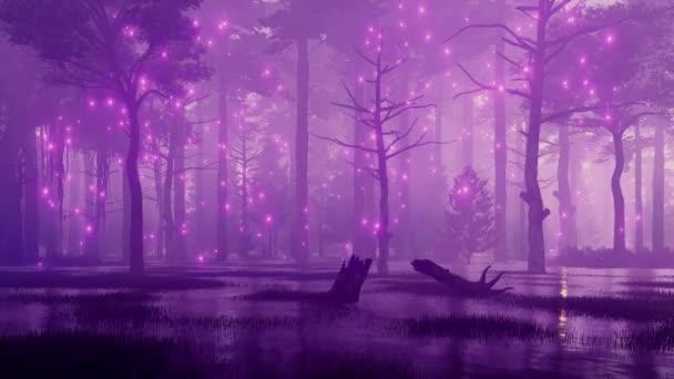 Pohádka lesní scéna s mystic firefly světly letící nad strašidelný bažinách v lese temné tajemné noci. Fantazie 3d animace vykreslované v rozlišení 4k