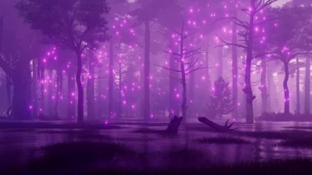 Tajemný noční Les bahenní s magickou firefly světly letící ve vzduchu mezi strašidelný staré stromy. Fantazie 3d animace vykreslované v rozlišení 4k