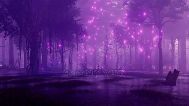Titokzatos mocsaras erdei természetfeletti firefly égősor szárnyal a levegőben, sötét, ködös éjszaka. Fantasy 3d animáció jelenik meg, a 4k