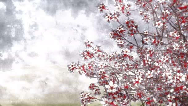 Mürekkep Veya Sulu Boya Sanatsal Stil Japon Sakura Kiraz Ağacı