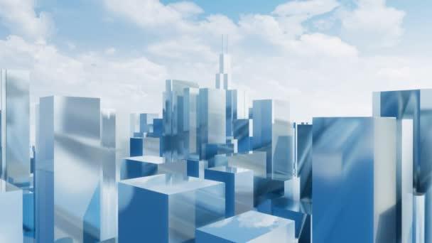 Abstraktní zrcadlo reflexní 3d město mrakodrapů v centru Chicaga, Illinois denní zamračená obloha pozadí. Architektonické animace ve stylu jednoduché minimalismus vykreslen v rozlišení 4k