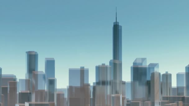Abstract Chicago city skyline with reflective glass block shape modern highrise buildings skyscrapers silhouette. Architectural background panoramic minimalism 3D animation rendered in 4K