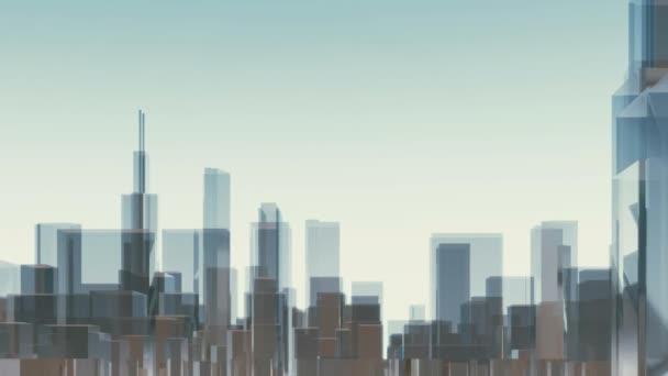 Abstract modern reflective glass block shape highrise buildings skyscrapers silhouette in downtown of Chicago city, United States. Architectural background minimalism 3D animation rendered in 4K