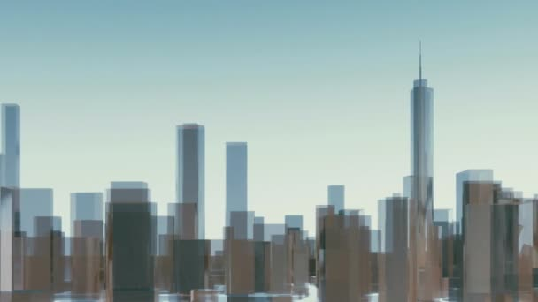 Panorama of abstract reflective cube shape high rise buildings skyscrapers silhouette on light blue sky background in Chicago city downtown. Architectural 3D animation rendered in 4K