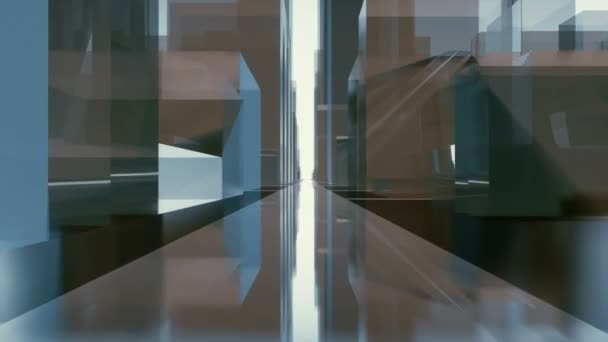 Street level tunnel motion through abstract futuristic city downtown with reflective glass cube shape highrise buildings. Minimalism concept architectural 3D animation rendered in 4K