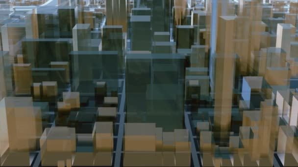 Flying over abstract 3D city downtown with modern reflective glass cube and block shapes highrise buildings skyscrapers. Futuristic architectural background minimalism animation rendered in 4K