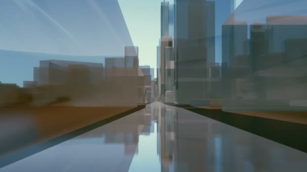 Motion through abstract modern city downtown street road with mirror glass or steel block shape high rise office buildings. Futuristic minimalism architectural 3D animation rendered in 4K