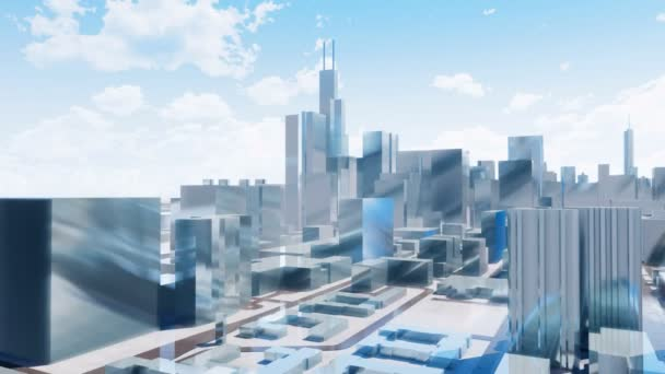Abstract modern high rise buildings with reflection mirror facades in downtown Chicago against cloudy sky background. Simple architectural 3D animation in minimalism style rendered in 4K