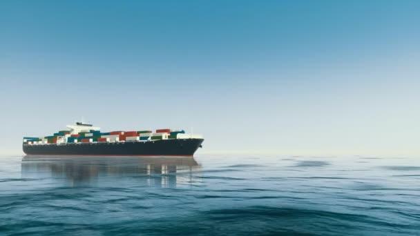 Nízký úhel pohledu velké brandless nákladní kontejnerová loď plave na klidné modré vlny v otevřeném moři ve dne. Realistické 3d animace vykreslované v rozlišení 4k