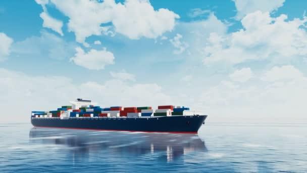 große brandlose Fracht Containerschiff voller verschiedener Container in ruhiger See vor tagsüber bewölkten Himmel Hintergrund. realistische 3D-Animation in 4k gerendert