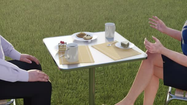 Close up view of two formally dressed colleagues, business people - man and woman sitting at coffee table and talking during lunch break on a green grass lawn. Concept 3D animation rendered in 4K