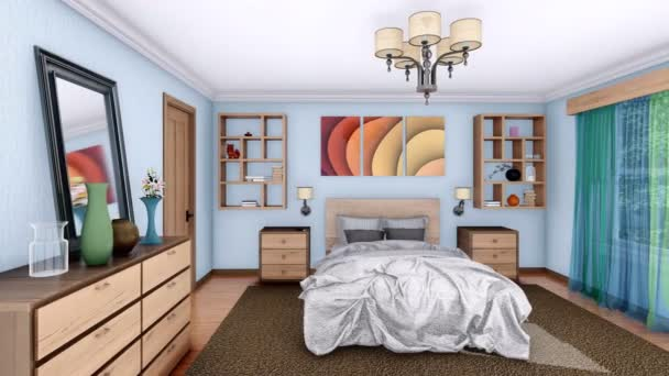 Cozy Bright Bedroom Simple Modern Interior Design Pan Right Shot Stock Video C Marsea 193698304