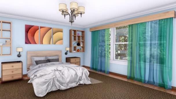 Realistické 3d animace interiéru útulný světlý moderní ložnice s manželskou postelí a velkým oknem ve dne vykreslen v rozlišení 4k
