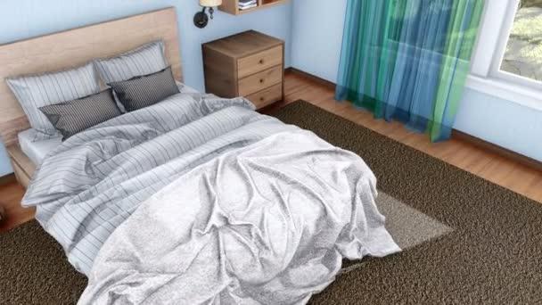 Komfortní ložnice světlé moderní interiér s manželskou postelí a velká okna, ve dne. Z pohledu shora na detail realistické 3d animace vykreslované v rozlišení 4k