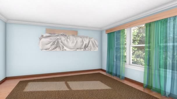 Budování interiéru moderní světlé pohodlné ložnice s manželskou postelí a další vybavení. Koncepce designu realistické 3d animace vykreslen v rozlišení 4k