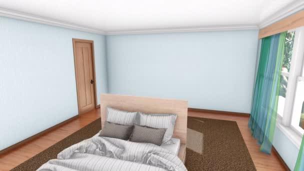 Hangulatos, modern hálószoba lakberendezés létrehozása, berendezési folyamat. Magas szög kilátás reális 3d animáció jelenik meg, a 4k
