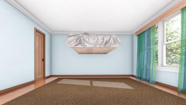 Koncept 3d animace procesu zařizování interiéru moderní pohodlné ložnice vykreslen v rozlišení 4k