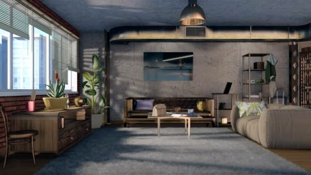 Moderno salotto urbano interno con divani, muratura, muro di cemento, stack di ventilazione e finestra panoramica in stile loft appartamento al giorno. Animazione 3d di concetto design resi in 4K