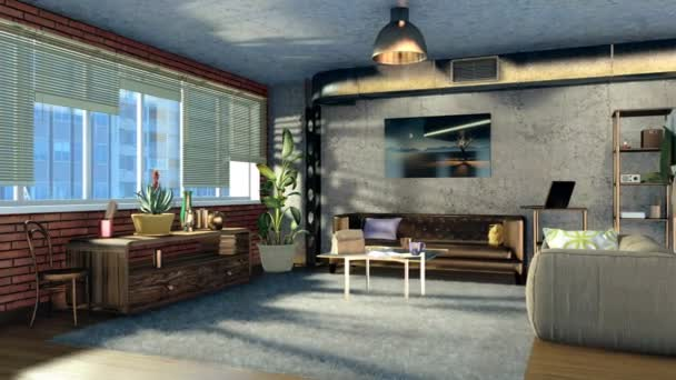 Modern comfortable living room interior design with brickwork, concrete  wall and panoramic window in loft apartment at daytime. Realistic  architectural 3D animation rendered in 4K