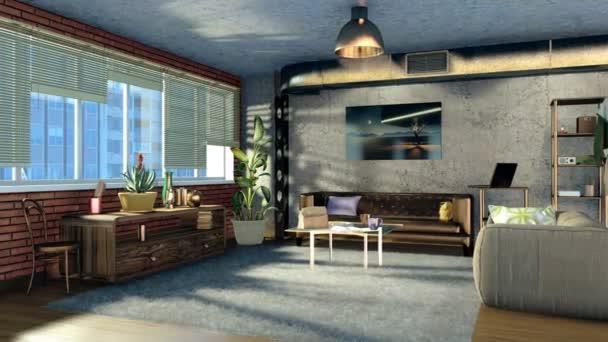 Modern, kényelmes nappali belsőépítészet, tégla, beton fal és panoráma ablakkal, tetőtéri lakás, nappali. Reális építészeti 3d animáció jelenik meg, a 4k