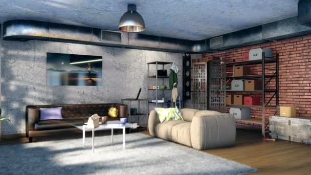 Modern minimalist living room interior with sofas, brickwork, concrete wall, ventilation stack and metal framework in loft style flat. Concept design 3D animation rendered in 4K