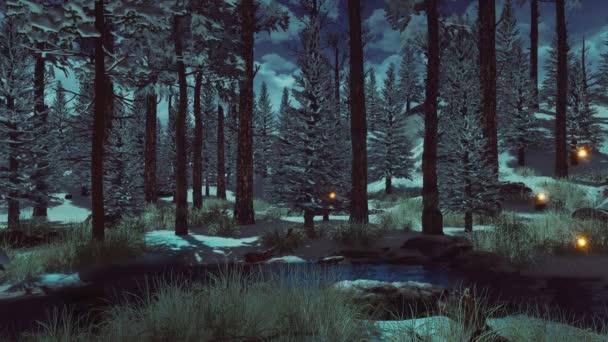 Fenyő- és fenyőfák borított első hó és varázslatos szentjánosbogár fények szárnyalnak a levegőben egy sötét titokzatos téli erdőben kora reggel vagy alkonyatkor. Fantasy 3D animáció 4k-ben