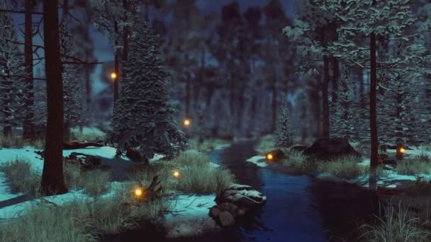 Dreamlike woodland landscape with supernatural fairy firefly lights soaring in the air over small creek in a dark mystical winter forest at early morning or dusk. Fantasy 3D animation rendered in 4K