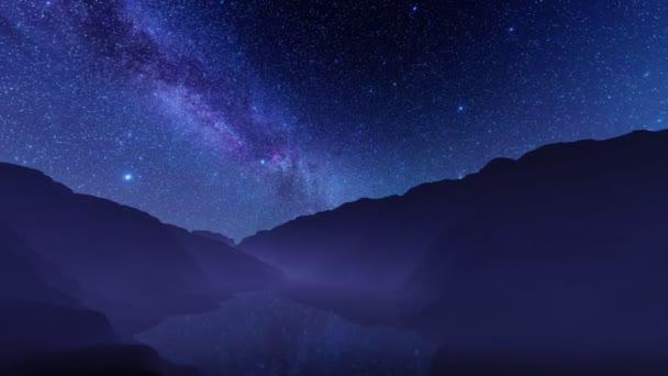 Starry night sky with Milky Way galaxy over calm mountain lake with stars reflections on water surface. With no people unreal fantastic landscape 3D animation rendered in 4K