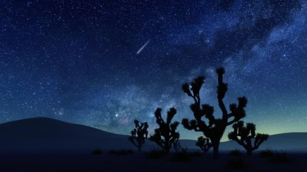 Desolate desert landscape with dark Joshua tree silhouettes against fantastic starry night sky with Milky Way galaxy and falling stars or meteors. With no people realistic 3D animation rendered in 4K