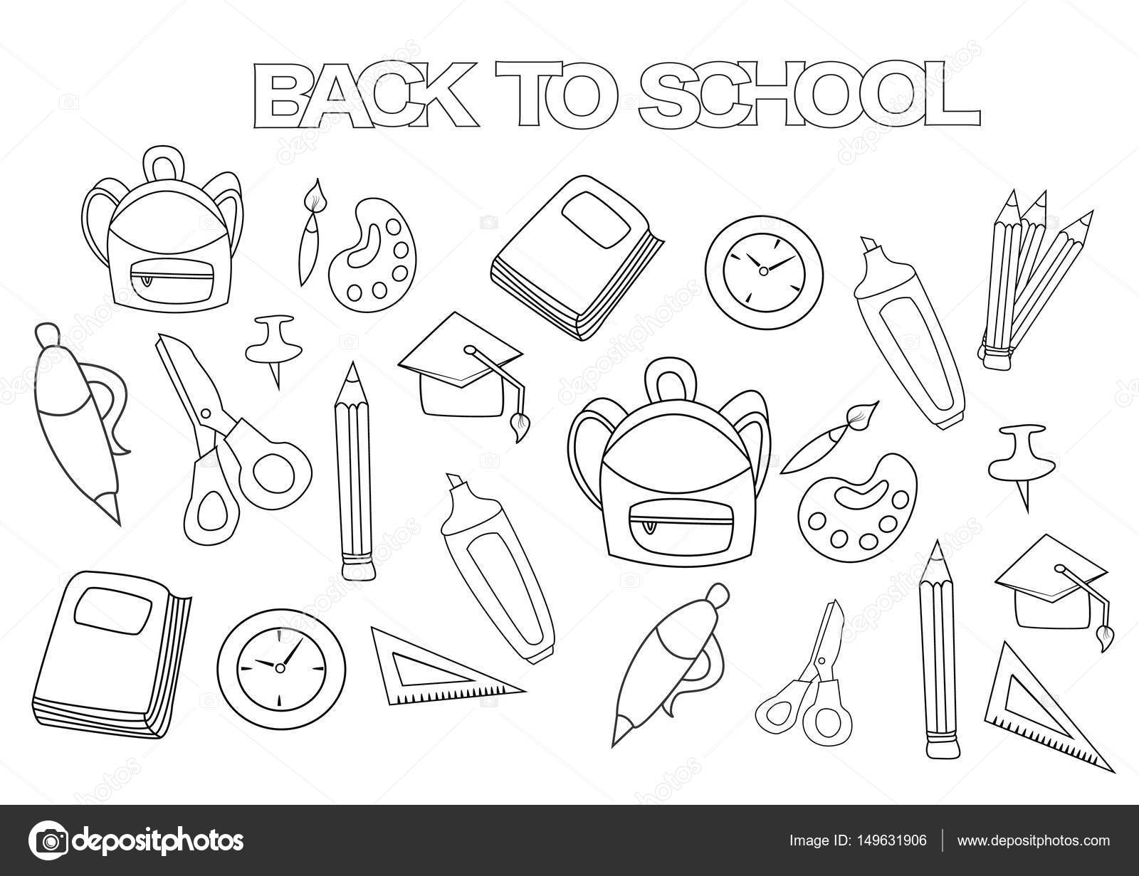 Back to school set. Coloring book page template. — Stock Vector ...