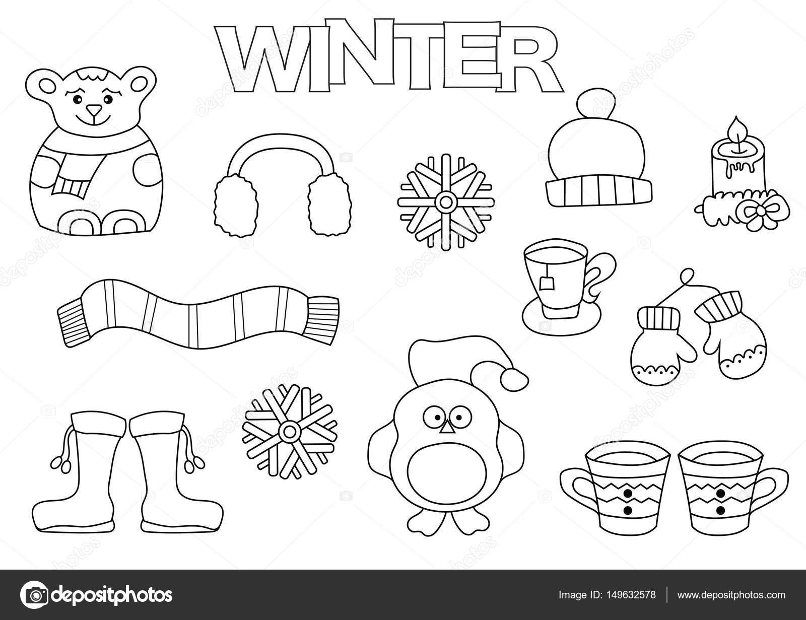 Conjunto de invierno dibujado a mano. Plantilla de libro para ...