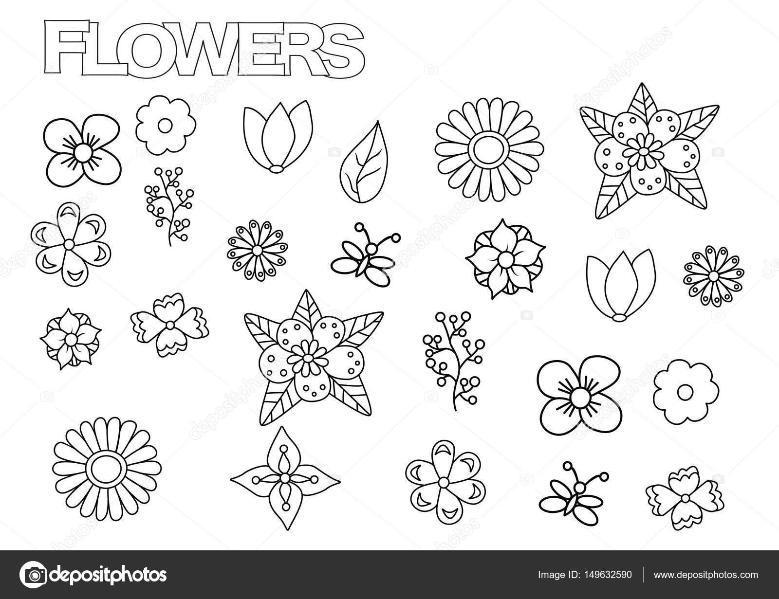 Conjunto de flores hechos a mano. Plantilla de página de libro