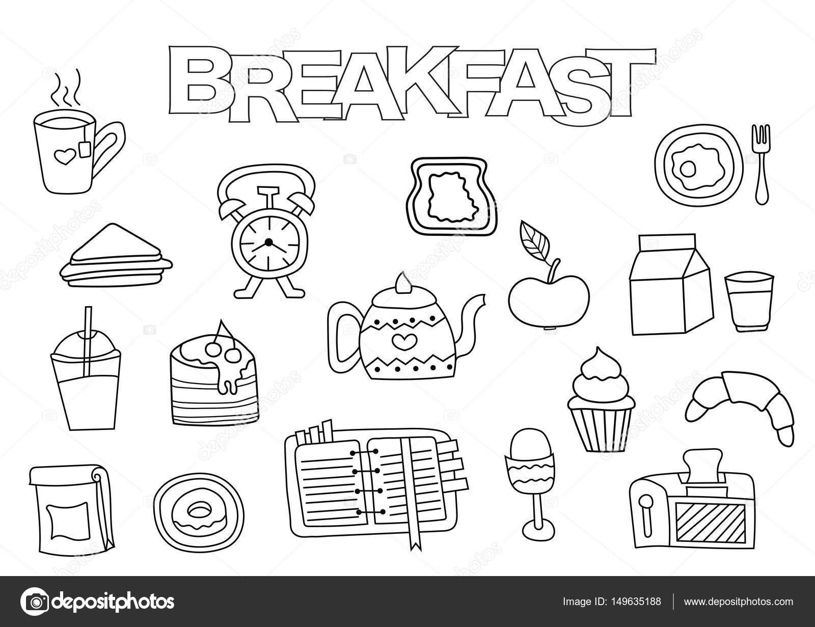 Set de desayuno de dibujado a mano. Plantilla de libro para colorear ...
