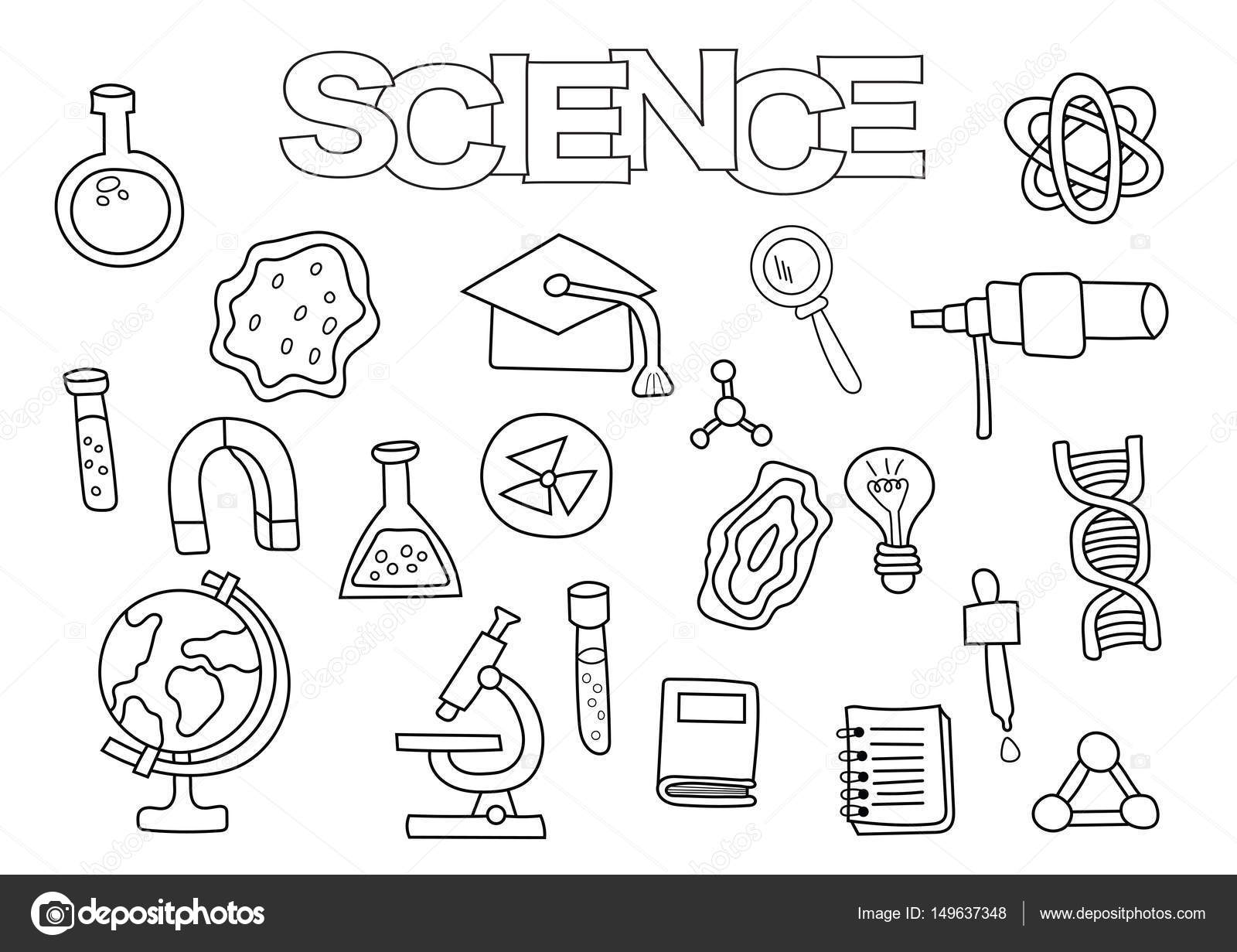 Science elements hand drawn set. Coloring book template. Outline ...