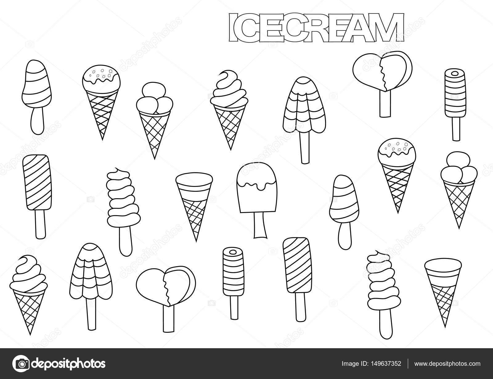 Juego de helado dibujado a mano. Plantilla de página de libro para ...
