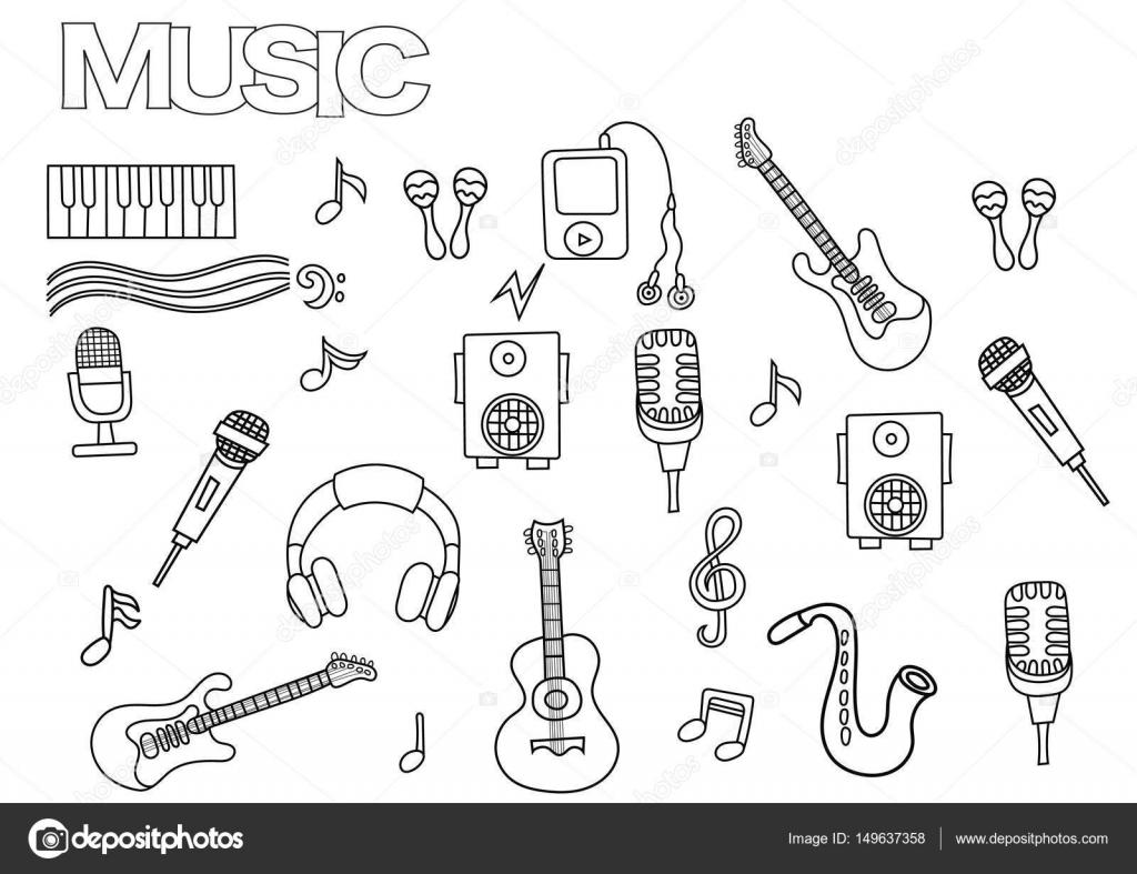 Conjunto de música de dibujado a mano. Plantilla de página de libro ...