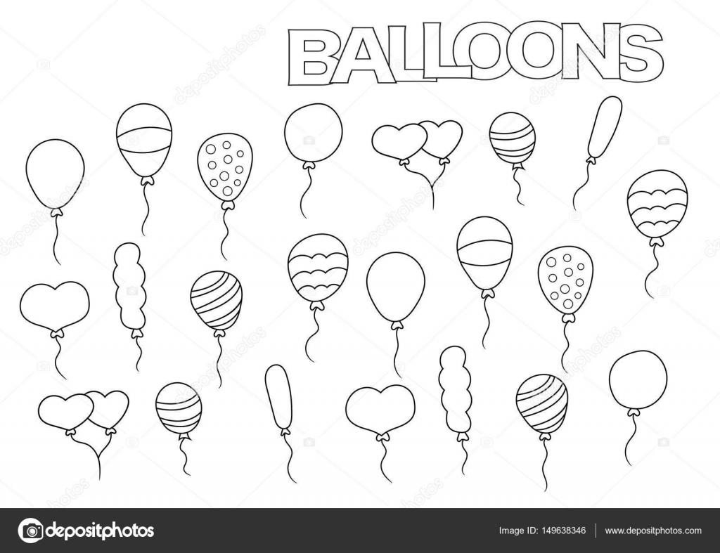 Hand Getrokken Ballonnen Set Kleurplaat Boek Paginasjabloon