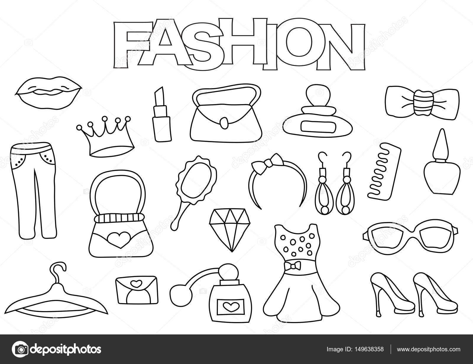 Elementos de moda conjunto dibujado a mano. Plantilla de libro para ...