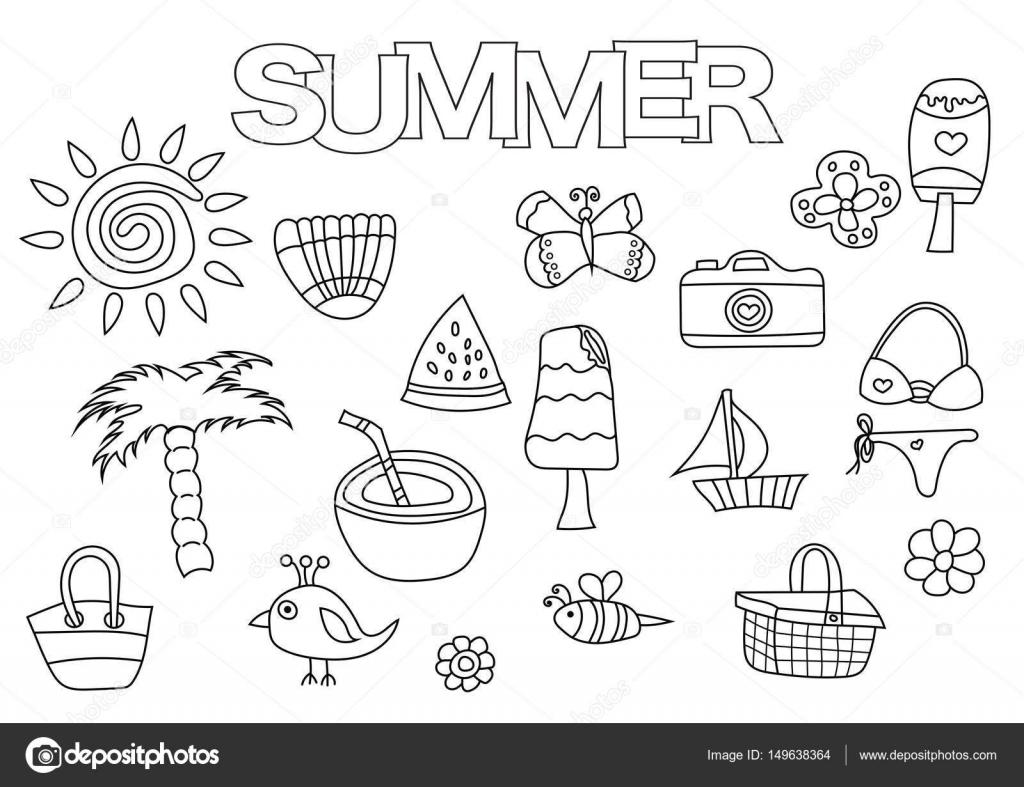 Sommer-Elemente hand gezeichnete Satz. Coloring Book Vorlage ...
