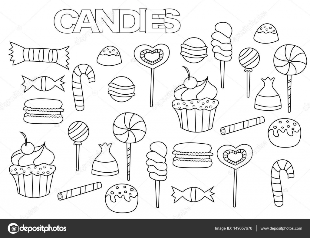 Hand drawn candy bar set. Coloring book page template. Outline ...