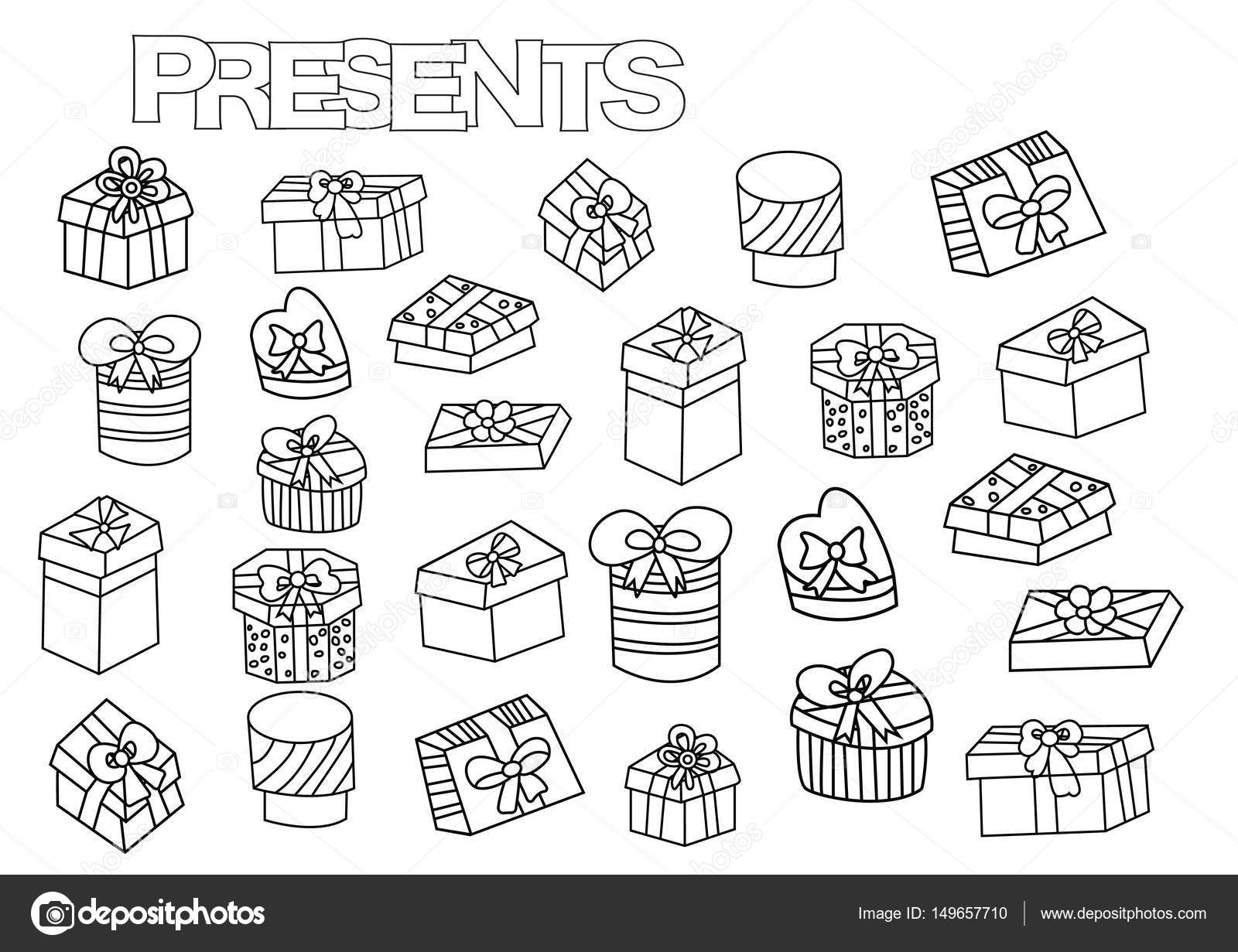 Hand drawn gift boxes set. Coloring book page template with presents ...
