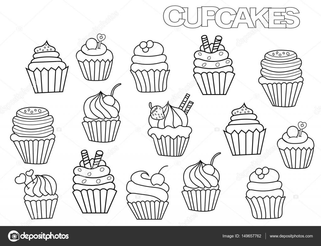 Imágenes Cupcake Para Colorear Set De Cupcakes Hechos A