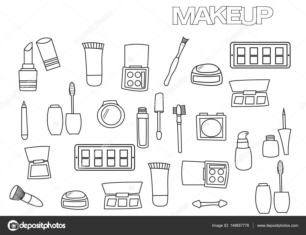 getrokken make up set kleurplaat boek paginasjabloon