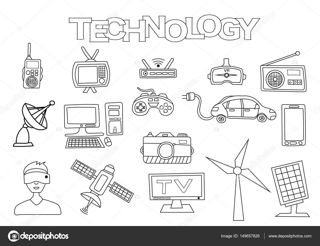 Dibujos Tecnologia Para Colorear Elementos De Tecnología