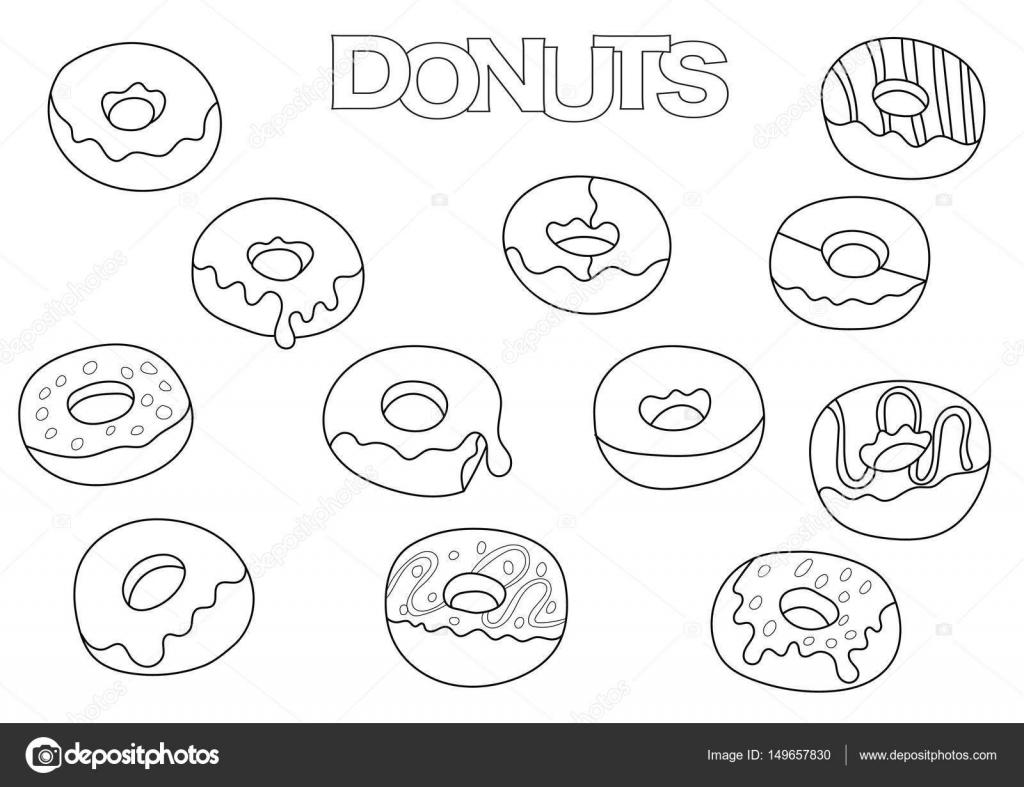 Donuts Elemente hand gezeichnete Satz. Coloring Book Vorlage ...