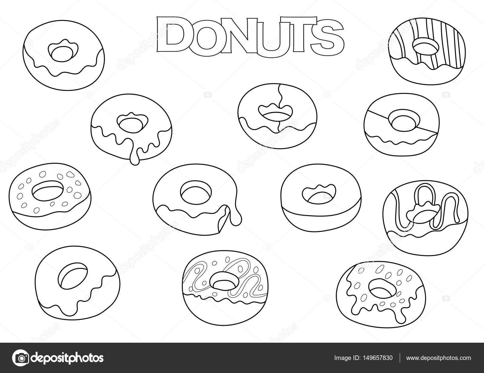 Donuts Elementen Hand Getekende Set Kleurplaat Boek Sjabloon