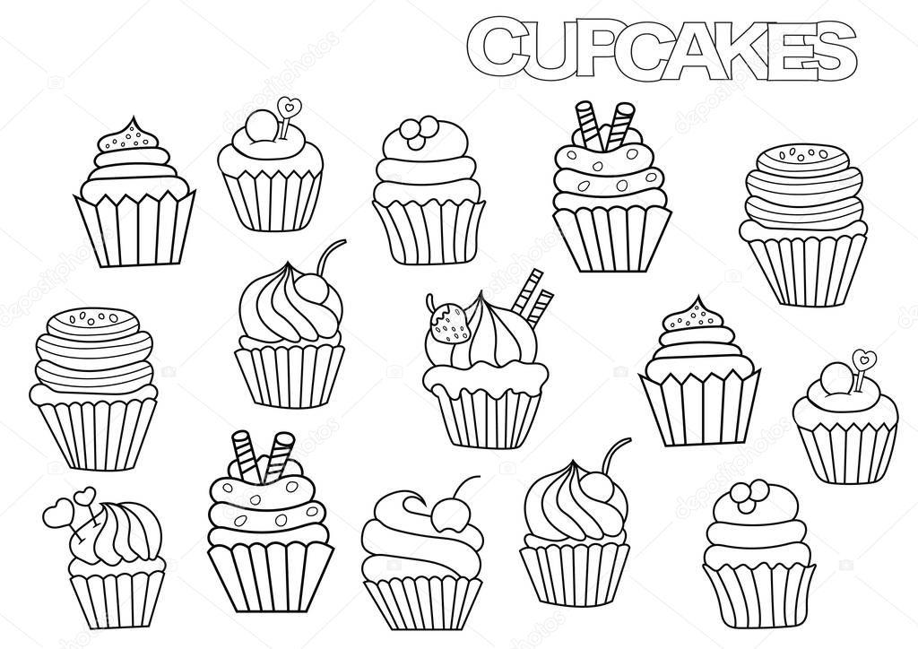 getrokken cupcakes set kleurplaat boek