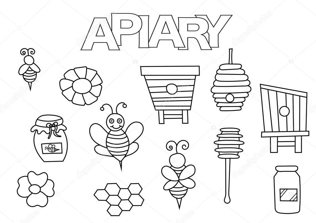 Arı Kovanı Arı Ve Bal öğeleri çizilmiş Seti Ver Boyama