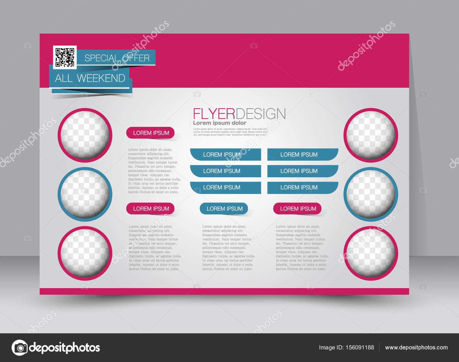 Flyer, folleto, cartel plantilla diseño paisaje orientación ...